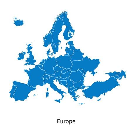 mapa politico: Mapa detallado del vector del mapa político de Europa con las fronteras