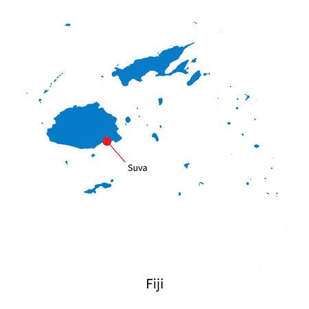 fiji: Gedetailleerde kaart van Fiji en de hoofdstad Suva