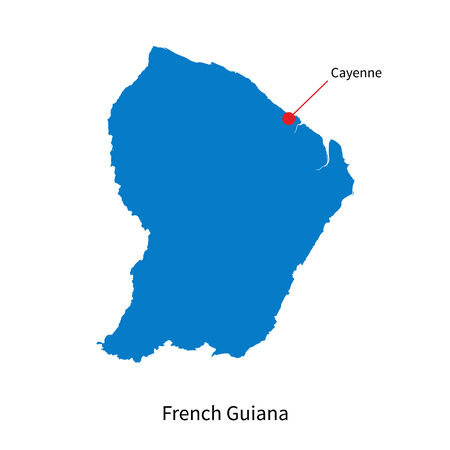 cayenne: Detailed map of French Guiana and capital city Cayenne Illustration
