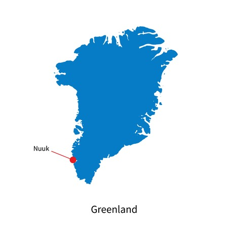 nuuk: Detailed map of Greenland and capital city Nuuk