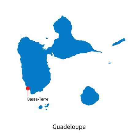 guadeloupe: Detailed map of Guadeloupe and capital city Basse-Terre