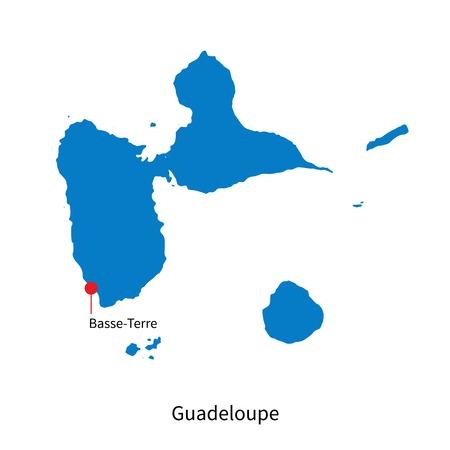 Detaillierte Karte von Guadeloupe und Hauptstadt Basse-Terre