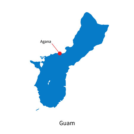 guam: Detailed map of Guam and capital city Agana Illustration