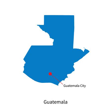 guatemala: Detailed map of Guatemala and capital city Guatemala City Illustration