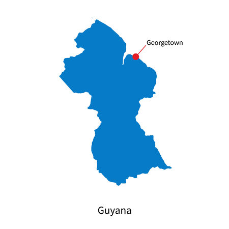 georgetown: Detailed map of Guyana and capital city Georgetown