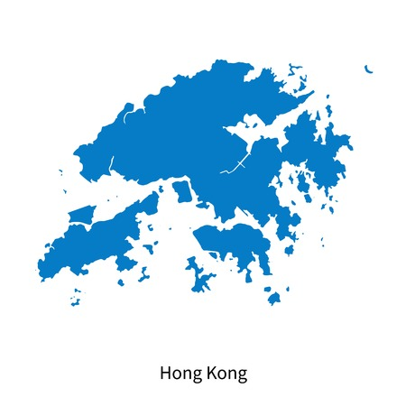 Detailed map of Hong Kong Illustration