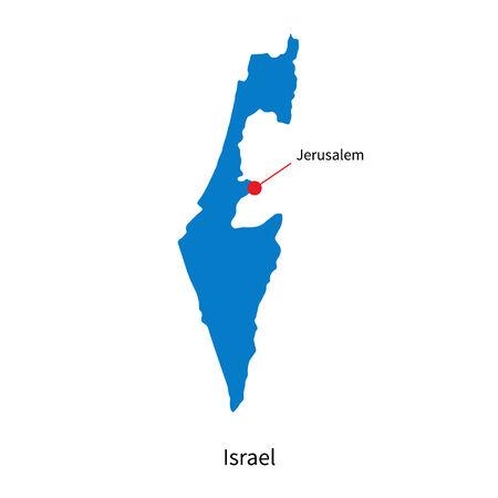 jeruzalem: Gedetailleerde kaart van Israël en hoofdstad Jeruzalem