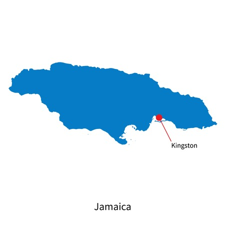 kingston: Detailed map of Jamaica and capital city Kingston