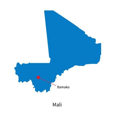 bamako: Detailed map of Mali and capital city Bamako