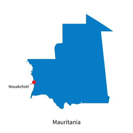 mauritania: Detailed map of Mauritania and capital city Nouakchott