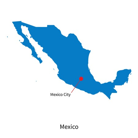 mexico city: Detailed map of Mexico and capital city Mexico