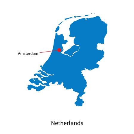 Detailed map of Netherlands and capital city Amsterdam