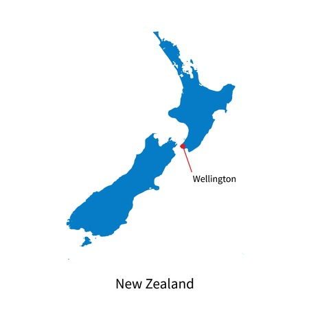 new zealand: Detailed map of New Zealand and capital city Wellington