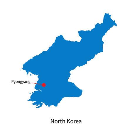 pyongyang: Detailed map of North Korea and capital city Pyongyang Illustration