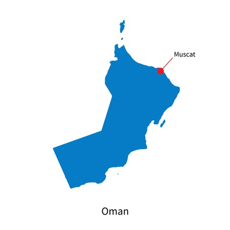 western asia: Detailed  map of Oman and capital city Muscat