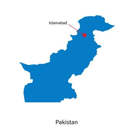 islamabad: Detailed map of Pakistan and capital city Islamabad Illustration