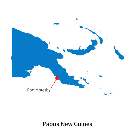 papouasie: Carte d�taill�e de la Papouasie-Nouvelle-Guin�e et la capitale Port Moresby