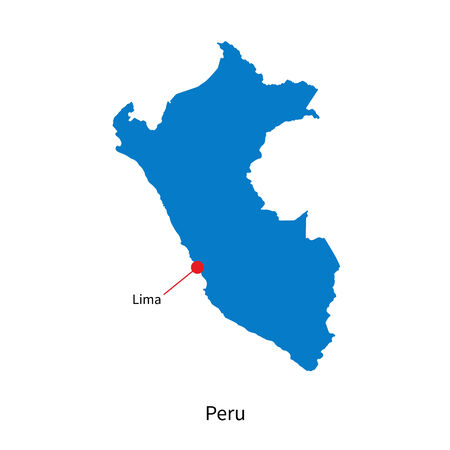 lima region: Detailed map of Peru and capital city Lima