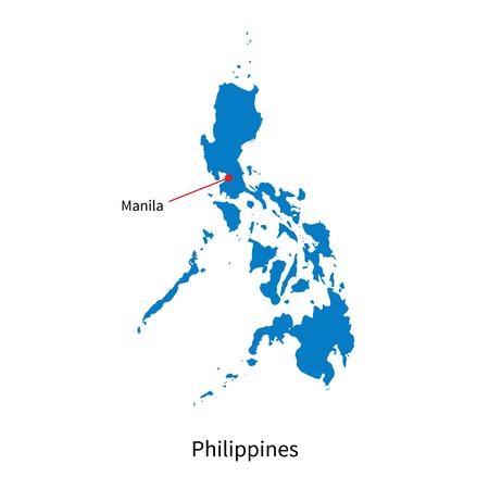manila: Detailed map of Philippines and capital city Manila
