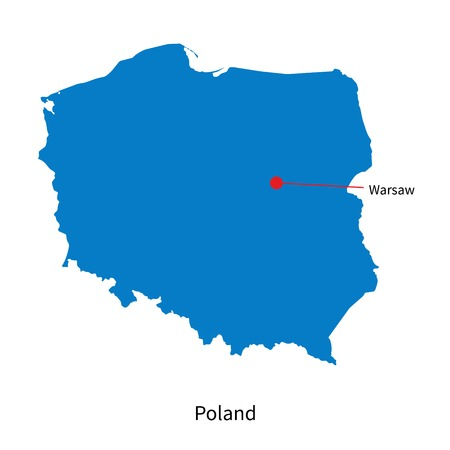 warsaw: Detailed map of Poland and capital city Warsaw