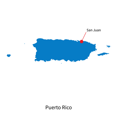 Detailed map of Puerto Rico and capital city San Juan Vector