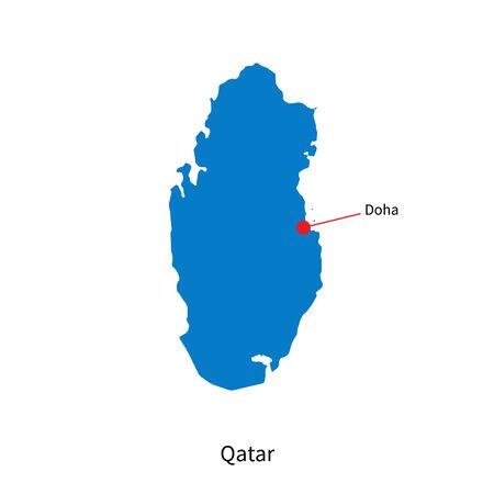 doha: Detailed map of Qatar and capital city Doha