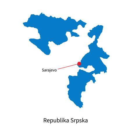 republika: Detailed map of Republika Srpska and capital city Sarajevo Illustration