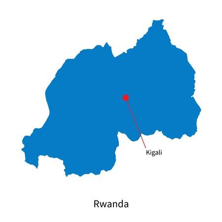 kigali: Detailed map of Rwanda and capital city Kigali Illustration