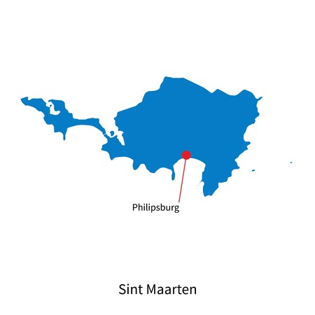 sint: Detailed map of Sint Maarten and capital city Philipsburg Illustration