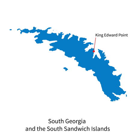 edward: Detailed map of South Georgia and the South Sandwich Islands and capital city King Edward Point