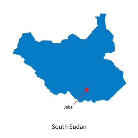 south sudan: Detailed map of South Sudan and capital city Juba Illustration