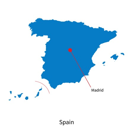 Detailed map of Spain and capital city Madrid Illustration