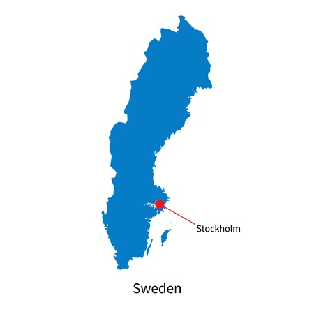 education in sweden: Detailed map of Sweden and capital city Stockholm