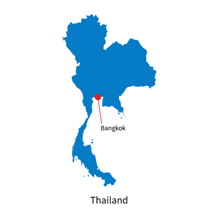 Detailed map of Thailand and capital city Bangkok Vector