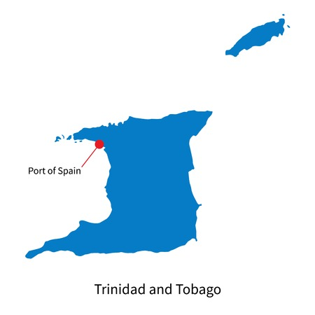 Detailed map of Trinidad and Tobago and capital city Port of Spain Vector
