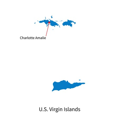 virgin islands: Detailed map of U.S. Virgin Islands and capital city Charlotte Amalie