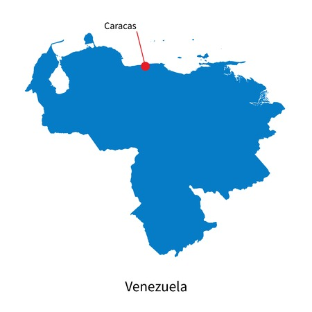 caracas: Detailed map of Venezuela and capital city Caracas