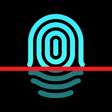 Fingerprint identification system - whorl type icon. Vector