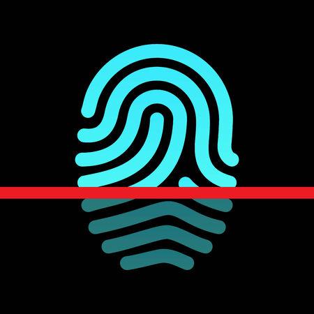 Fingerprint identification system - loop type icon. Illustration