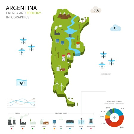 cooling tower: Energy industry and ecology of Argentina Illustration