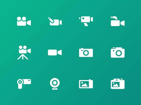 journalistic: Icone della fotocamera su sfondo verde. Vettoriali