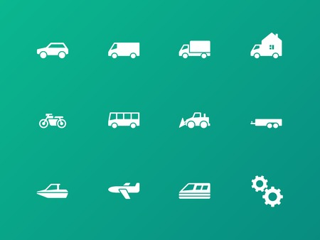 Cars and Transport icons on green background. Vector