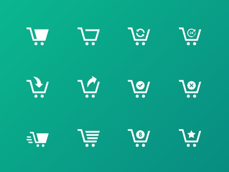 e retailers: Shopping cart icons on green background.