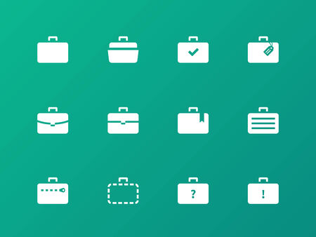 Case icons. Traveling bags and luggage. Vector