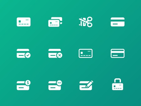 credit card payment: Credit card icons on green background. Illustration