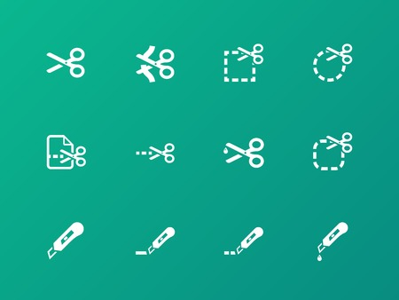 penetrated: Scissors with cut lines icons. Illustration