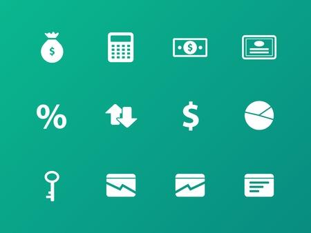 �conomie verte: ic�nes Economie sur fond vert. Illustration