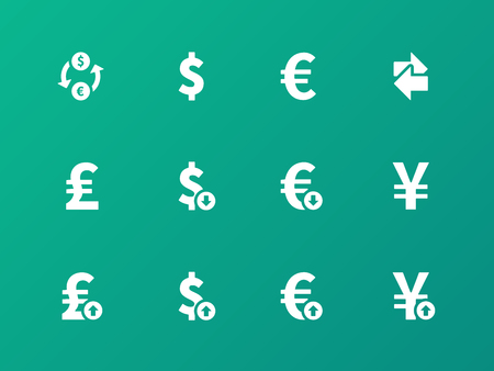 exchange rate: Exchange Rate icons on green background
