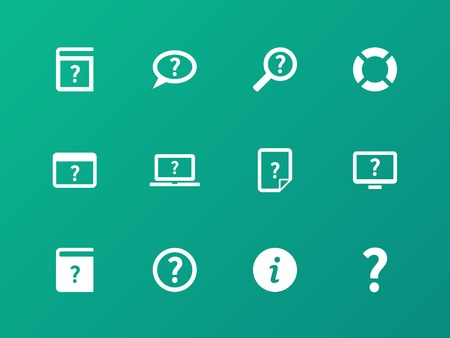 helping: Help and FAQ icons on green background.