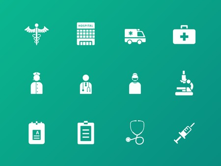 Hospital icons on green background. Vector